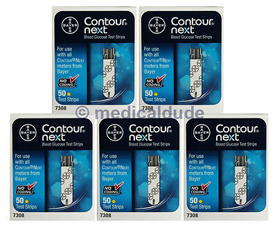 Bayer Contour Next Blood Glucose 250 Test Strips (5 Boxes of 50) Exp 1-Year+