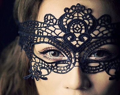 Stunning Black Venetian Masquerade Mask Eye Halloween Party Lace Fancy Dress UK