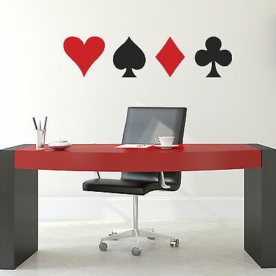 Playing Card Symbols Wall Sticker Set- Heart, Spade, Club and Diamond Stickers
