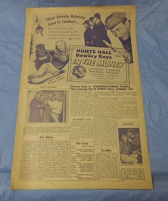In the Money (1958) BOWERY BOYS Huntz Hall, Stanley Clements PRESSBOOK