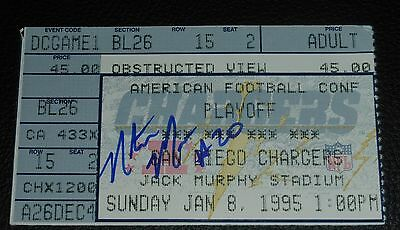 Natrone Means Signed Chargers Dolphins 1995 Playoff Game Ticket Stub 1994 Season