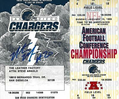 Natrone Means Signed Chargers 1995 Playoff Game Phantom Full Ticket 1994 Season