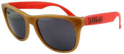 Deathwish Wayfarer Style Skateboard Sunglasses GOLD/RED
