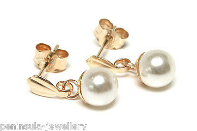 9ct Gold Pearl Ball drop Earrings Gift Boxed Made in UK