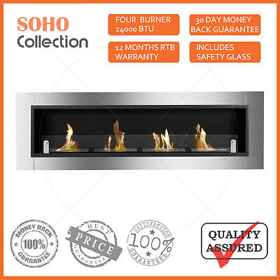New Wall Mounted Four Burner Bio Ethanol Fireplace W/ Tempered Safety Glass