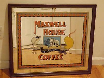 Vintage Maxwell House Coffee Wall Mirror Sign Reverse Painted ORIGINAL ~ SALE!