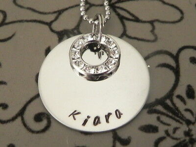 Personalised Hand Stamped Single name or Wording Pendant Necklace Swar...Crystal