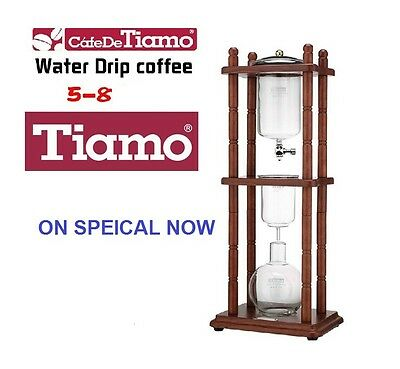 Tiamo HG2603 Cold Drip Coffee Maker 5- 8 Cups with Timber Frame
