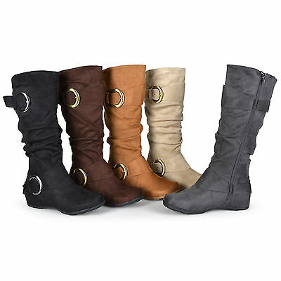 d7f53b5fc Journee Collection Womens Wide and Extra Wide-Calf Slouch Buckle Knee High  Boots