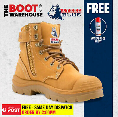 Steel Blue 'Argyle' 332152 Wheat Steel Toe Cap Safety Work Boots. Zip. Bump Cap.