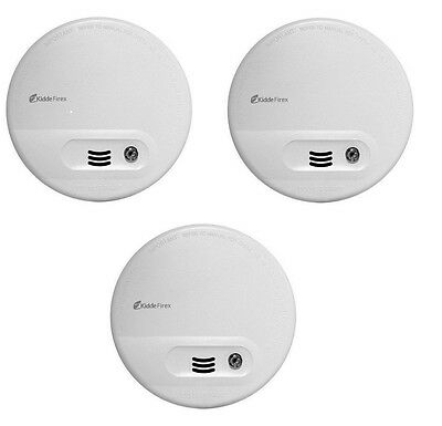 3 x Kidde KF10 Firex Smoke Alarm Mains / Battery Back Up Ionisation