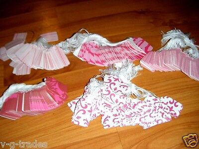 LOT 100 Pink Designer Print Paper Merchandise Price Tags with White String