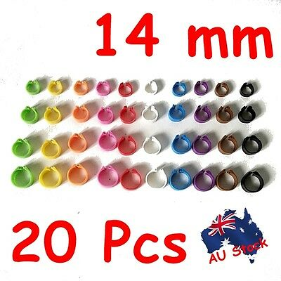 14 mm 20 pcs Birds Chicken Poultry Leg Rings Band Tags Clip on 10 colours