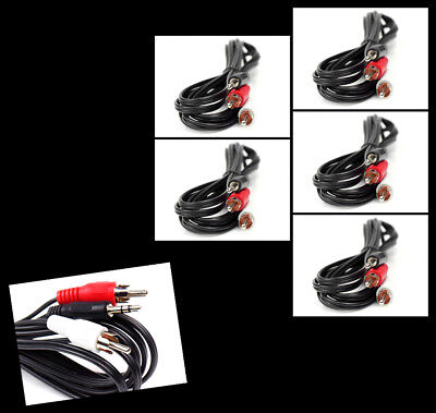 5X 10Ft 3.5Mm Aux Rca Phono Male Audio Stereo Jack Black Splitter Cable Adapter
