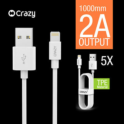 5 X GENUINE CRAZY iPhone 6 5s plus 7 iPad USB data cable lightning cord charger