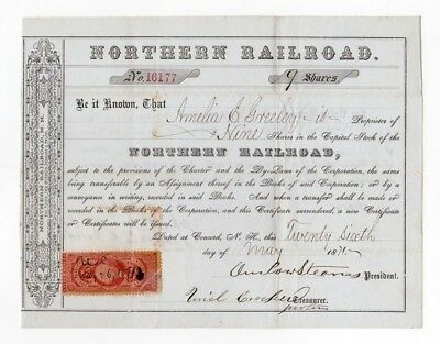 1871 Northern Railroad Stock Certificate - NEW HAMPSHIRE