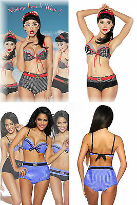Vintage Retro Push-up Bügel Bikini Fifties-Style Highwaist Panty M L XL  Dots