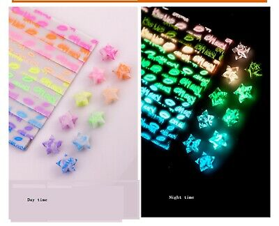 30 piece night glow ORIGAMI LUCKY STAR PAPER ,clover pattern,fragrance - 7 color