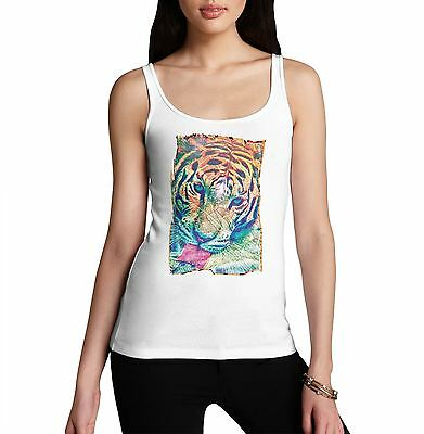 Women's Psychedelic Tiger Distress Print Tank Top