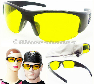 Z87 YELLOW SAFETY WRAP NIGHT VISION  GLASSES Driving Golf Shooting Sunglasses LG