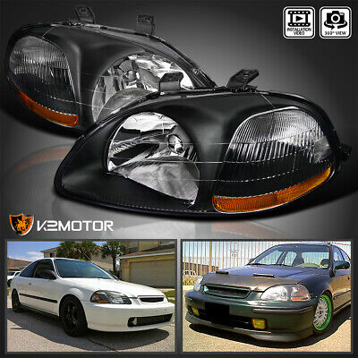 [JDM Black] For 1996-1998 Honda Civic DX EX LX Replacement Headlights Left+Right