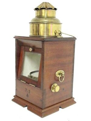 English Navy Mahogany Cased Binnacle Compass By  F Wiggins.