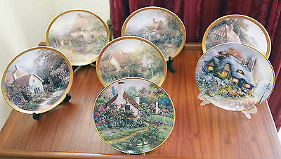 Collection of 7  Lovely Franklin Mint Cottages series Decorative Plates Mint