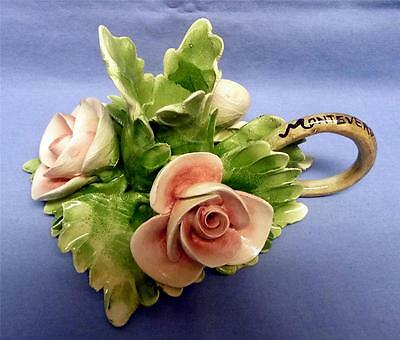CAPODIMONTE  ITALY BEAUTIFUL ROSES CANDLE HOLDER HAND CARVED & PAINTED