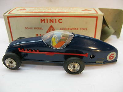 ANTIQUE TOY CAR TRI-ANG MINIC WIND UP RACING 13M SCALE MODEL TIN BOX CLOCKWORK