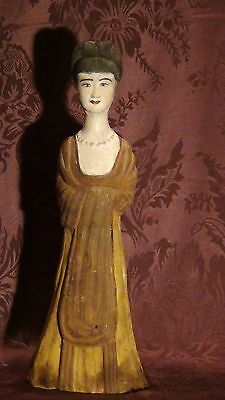 Antique 19C Chinese Tomb Clay Pottery Noble Woman ,Quan-Yin Statue #1,Old Estate