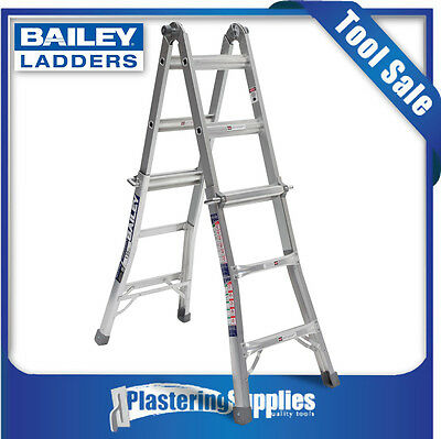 Bailey Ladders Multi Purpose Extendable Step Ladder  Trade 135kg 1.7m/3.3m BXS13