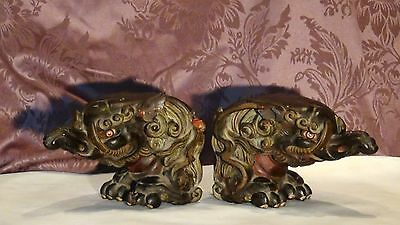PAIR ANTIQUE 17c-18c CHINESE ROSEWOOD CARVED ELEPHANTS TEMPLE ELEMENTSSTATUES