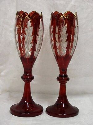 Pair Of Tulip Shaped Ruby Glass With Gilded Edges.c1880'S