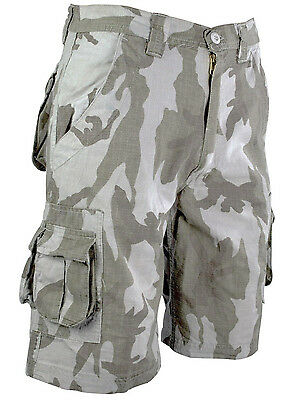 MENS STONEWASH CAMO CARGO SHORTS Gents 100% Cotton Grey MilitaryTundra combats