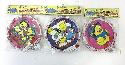 """SPRING TIME HAPPY EASTER BUNNY 10 LIGHT WALL DECORATION 7"""" ROUND UL LISTED"""
