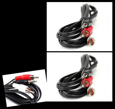2X 10Ft 3.5Mm Aux Rca Phono Male Audio Stereo Jack Black Splitter Cable Adapter
