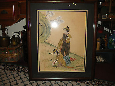 Superb Japanese Or Chinese Painting Of Women-Large Framed Art-Antique?-Detailed