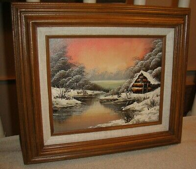 Superb Oil Painting On Canvas By William-Cottage By The Snowy Lake-Framed