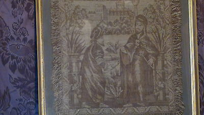Antique18C  Islamic Persian Hand Woven Tapestry With A Mosque On Distance,framed
