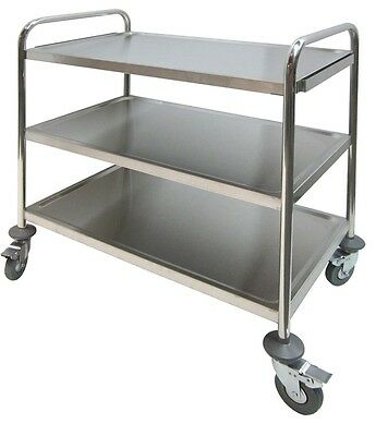 Stainless Steel 3 Shelves Bus Cart 250Lbs Cap Economic Duty Food Cart C-23K