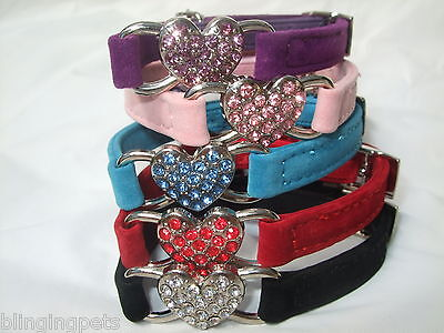 Cat Collar Diamante rhinestone stones Bling safety elastic Velvet heart kitten
