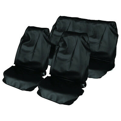 Black Universal Fit Car Seat Cover Set - Water Resistant Front & Rear Covers New