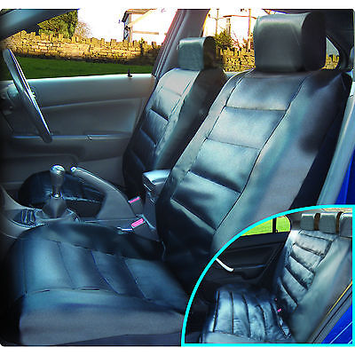 Luxury Black Leather Look Front & Rear Car Seat Covers Set Cover Vehicle Seats