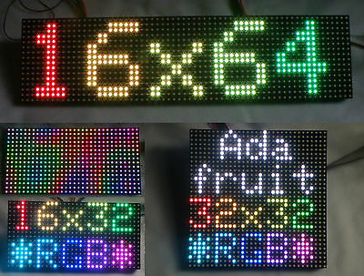 16x32, 16x64 & 32x32 Full Colour RGB LED Matrix's for Arduino and Raspberry Pi.