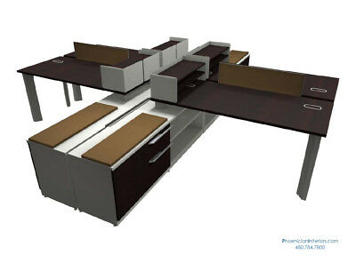 Set of 4 Person L Shaped Desks Workstation Benching Systems Office Furniture