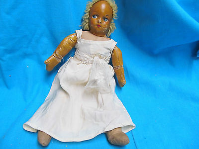 "Antique 14 1/2"" Tanned Cloth Doll Blonde Hair Blue Eyes"