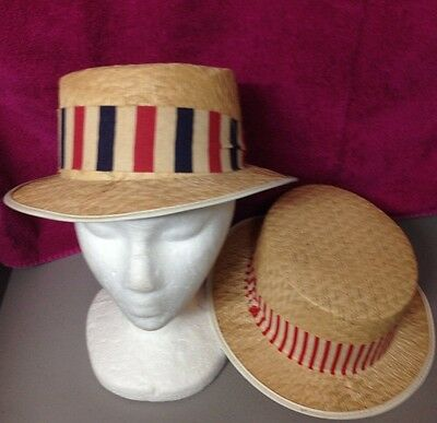 Vintage Patriotic Red White Blue Election Straw Hat Boaters Cap Lot