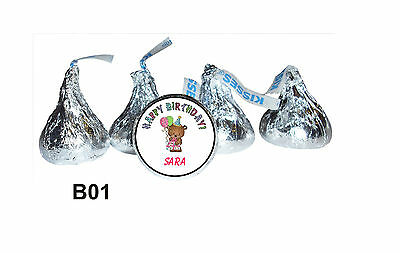 108 Personalized Birthday Bear Hershey Kisses Party Favor labels
