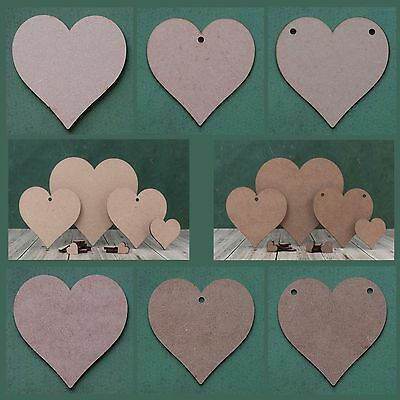 Wooden heart shape mdf blank cutout tag for craft, bunting and garland holes