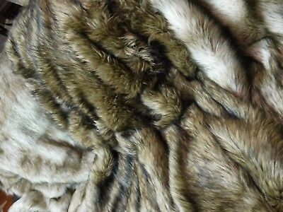 Faux Fur Throw Rug Blanket Silver Cream & Chocolate Stripe 125 X 150 Cm New